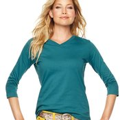 Women's V-Neck T-Shirt with Three-Quarter Sleeves