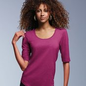 Women's Triblend Deep Scoopneck Three-Quarter Sleeve Tee
